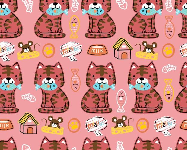 Patrón transparente de vector de dibujos animados de gato