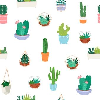 Patrón transparente de vector con diferentes cactus, plantas verdes en cerámica y suculentas.