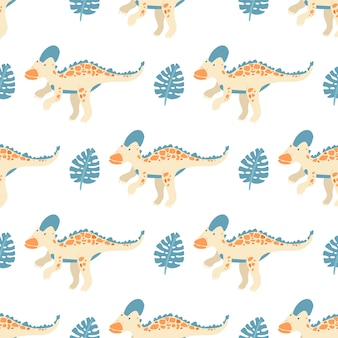 Patrón transparente de vector con dinosaurios y leavs de monstera