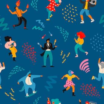 Patrón transparente de vector con divertidos hombres y mujeres bailando en trajes modernos brillantes.