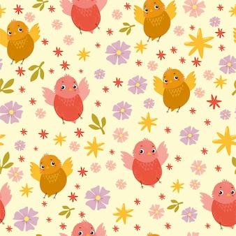 Patrón transparente de vector con divertidos pájaros y flores