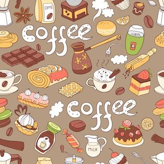 Patrón transparente de vector con doodle café. equipo
