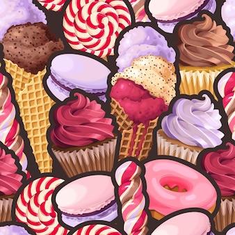 Patrón transparente de vector con dulces violetas y rosas