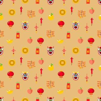 Patrón transparente de vector de elemento gráfico del año nuevo chino