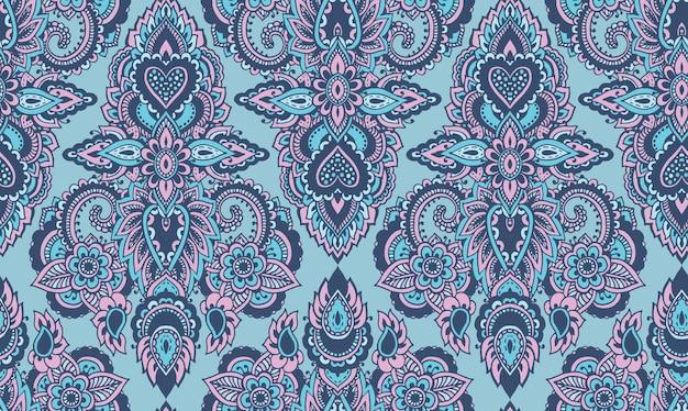 Patrón transparente de vector con elementos florales de henna mehndi dibujados a mano.