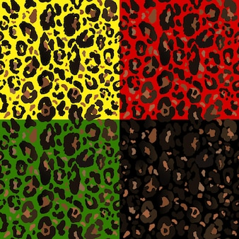Patrón transparente de vector con estampado de leopardo de color. huella animal. impresión del guepardo. fondo de safari de color.