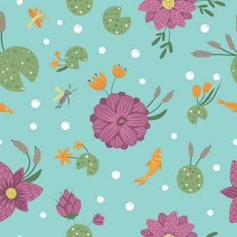Patrón transparente de vector de estilo de dibujos animados plano divertido nenúfar, libélula, mosquito, caña en el espacio azul. linda textura repetida con tema de pantano arbolado.