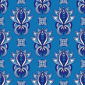 Patrón transparente de vector de flor de damasco cerámica florecer azul y blanco