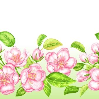 Patrón transparente de vector con flor de manzana.