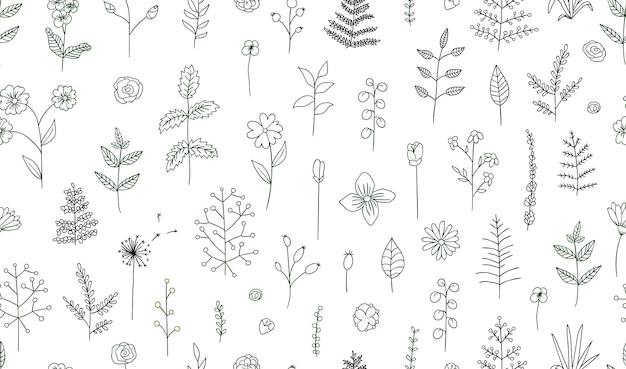 Patrón transparente de vector de flores blanco y negro, hierbas, plantas. paquete monocromático de elementos para diseño natural. estilo de dibujos animados
