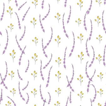Patrón transparente de vector con flores de jardín y hierbas.