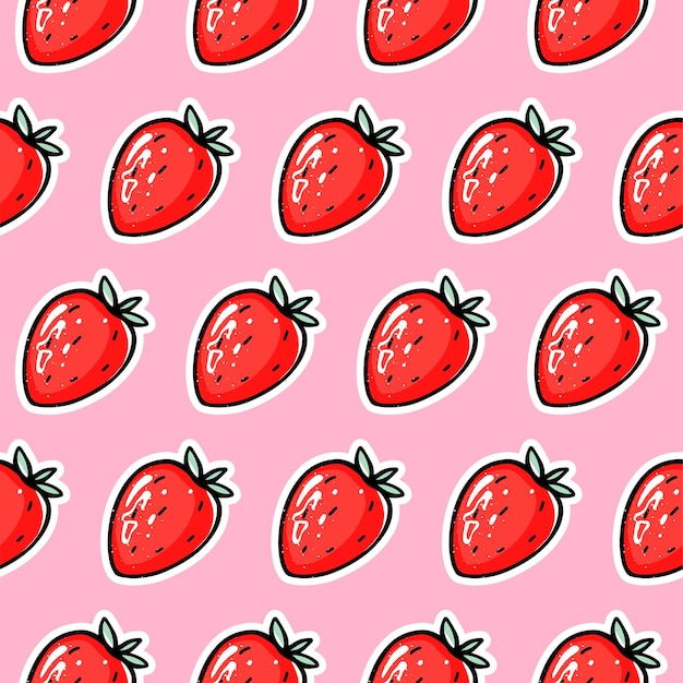 Patrón transparente de vector de fresa roja. berry repite el fondo.