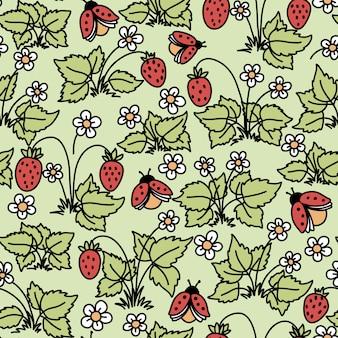 Patrón transparente de vector con fresas, flores y mariquitas