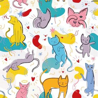Patrón transparente de vector con gatos graciosos en estilo memphis