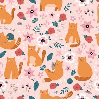 Patrón transparente de vector con gatos de jengibre doodle. flores de primavera dibujadas a mano sobre fondo rosa.