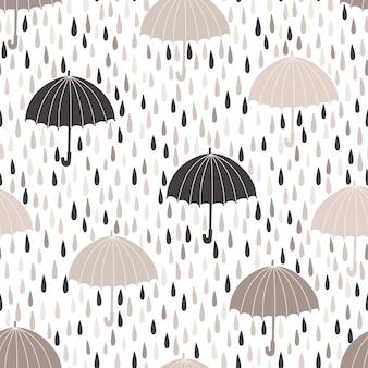 Patrón transparente de vector con gotas de lluvia y sombrillas. fondo de primavera