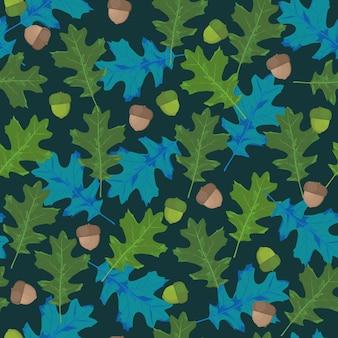 Patrón transparente de vector con hojas de otoño