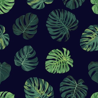 Patrón transparente de vector con hojas de palma monstera verde sobre fondo oscuro. verano tropical