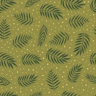 Patrón transparente de vector de hojas de palma