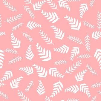 Patrón transparente de vector con hojas y rama.