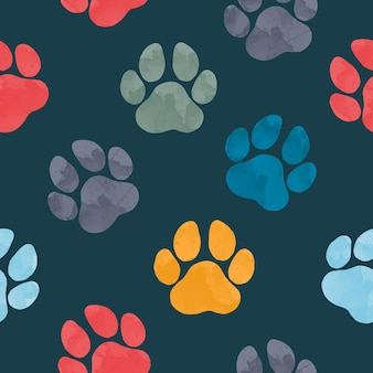 Patrón transparente de vector con huellas de animales de color de agua dibujadas a mano