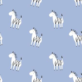 Patrón transparente de vector infantil con cebras. estilo garabato
