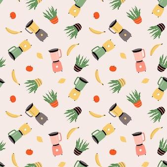 Patrón transparente de vector con licuadora, planta de interior, plátano, limón y manzana. menaje de cocina, utensilios. ilustración plana de dibujos animados para tela, textil, papel de regalo, papel tapiz