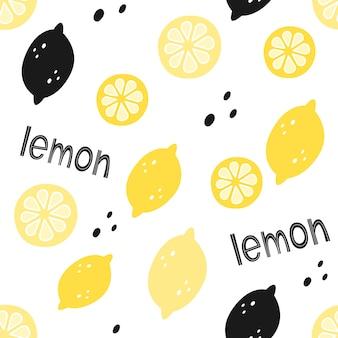 Patrón transparente de vector con limones y letras. estilo de dibujos animados
