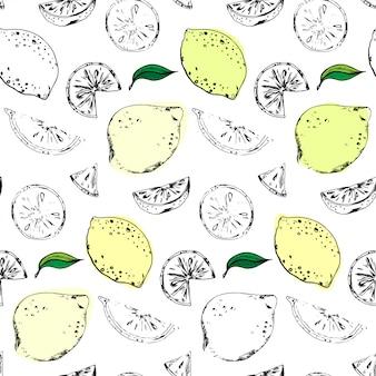 Patrón transparente de vector con limones y lima
