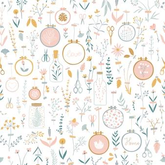Patrón transparente de vector lindo con decoración para el hogar acogedoras flores pegadas con cinta adhesiva.