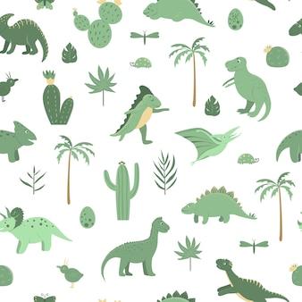 Patrón transparente de vector con lindos dinosaurios verdes con palmeras
