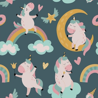 Patrón transparente de vector con lindos unicornios nubes estrellas arco iris