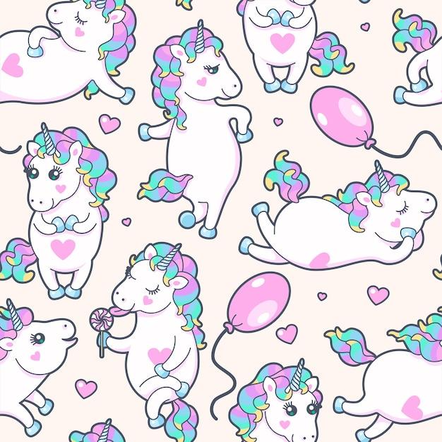 Patrón transparente de vector con lindos unicornios