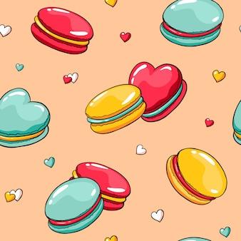 Patrón transparente de vector con macarrones doodle y corazones