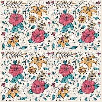 Patrón transparente de vector de mano dibuja flores de colores