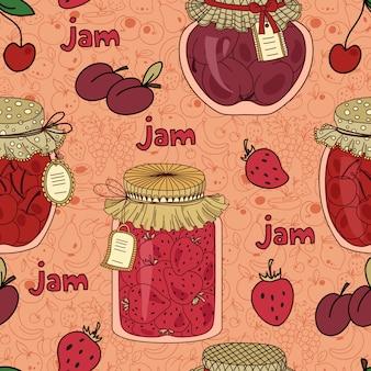 Patrón transparente de vector con mermelada de cereza, ciruela y fresa