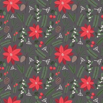 Patrón transparente de vector de navidad con muérdago de ramas de árbol de navidad de poinsettia