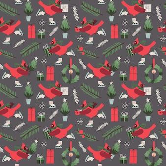 Patrón transparente de vector de navidad con pájaro cardenal estilizado en patines y regalos
