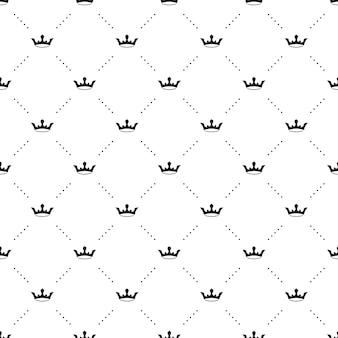 Patrón transparente de vector negro con coronas de rey