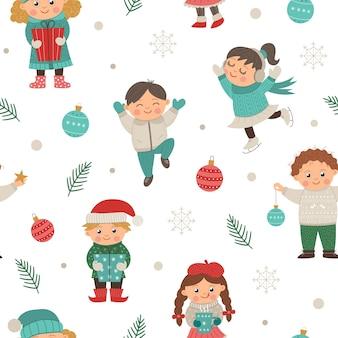 Patrón transparente de vector con niños divertidos en diferentes poses con decoración navideña.