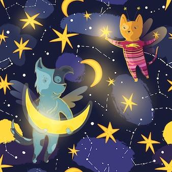 Patrón transparente de vector para niños con perro de hadas, gato, luna, estrellas y constelaciones.