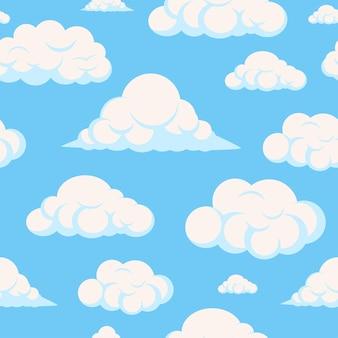 Patrón transparente de vector de nube de dibujos animados