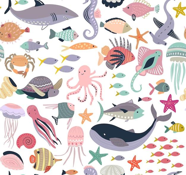 Patrón transparente de vector con peces y animales marinos, medusas, caballito de mar, ballena, tortuga, pulpo, cangrejo