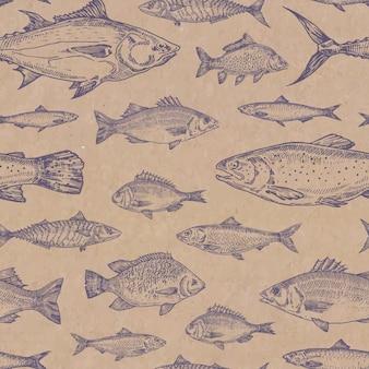 Patrón transparente de vector de peces dibujados a mano. textura de papel de cartón artesanal. anchoa, arenques