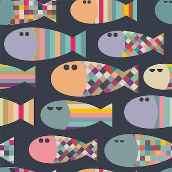 Patrón transparente de vector con peces geométricos abstractos decorativos coloridos fondo sin fin