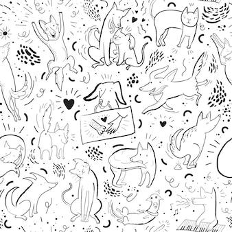 Patrón transparente de vector con perros y gatos de contorno en diferentes poses y emociones