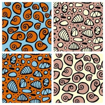Patrón transparente de vector con piedras de mar y conchas textura para tela textil en colores pastel