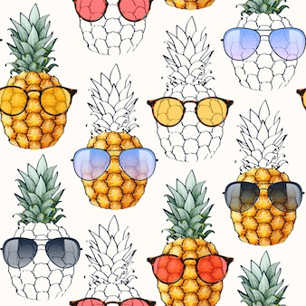 Patrón transparente de vector con piñas y gafas de sol muy detalladas