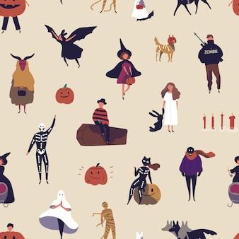 Patrón transparente de vector plano de personajes de terror. textura decorativa de halloween.