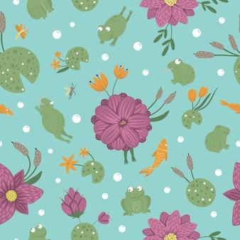 Patrón transparente de vector de ranas divertidas planas de estilo de dibujos animados en diferentes poses con libélula, mosquito, caña en el espacio azul. lindo adorno de repetición con animales del pantano del bosque